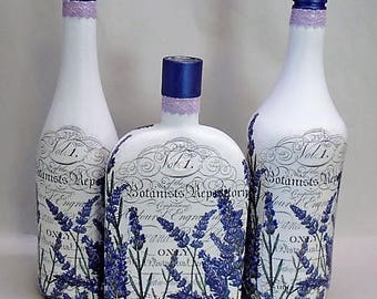 Handmade Upcycled Decoupage Glass Decorative Bottles, Set of 3, French, Lavender, Paris, Home Decor
