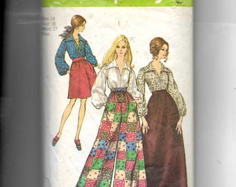 Simplicity Misses' Skirt In Two Lengths, Pants and Blouse Pattern 8550