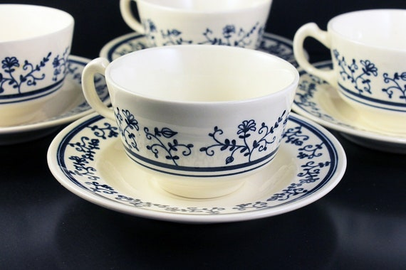 Footed Cups and Saucers, Homer Laughlin, Sturbridge, Set of 4, Blue and White