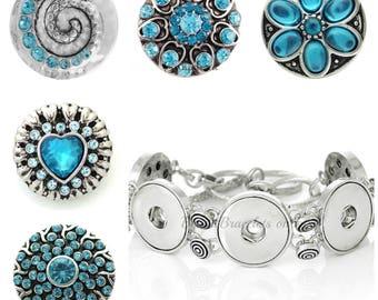 Blue Snap, Snap Bracelet Charms, 6.5 Inch Bracelet, 20mm Snap, Blue Jewelry, Snap Jewelry Noosa, Snap Button Bracelet, Magnolia Vine Snaps