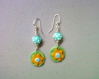 Yellow, Green, Blue and White Flower Earrings (1176)