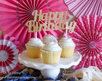 Happy Birthday Cake Topper / Glitter Cake Topper / Silver Happy Birthday Cake Topper /Happy Birthday Topper /Gold Happy Birthday Cake Topper