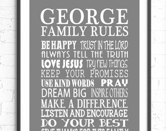 Family Rules Wall Art, Personalized Family Gift, Custom Sign, Typography Poster, Family Gift, Religious Family Rules Sign, Custom Family