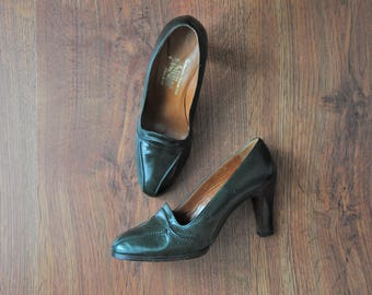 40s forest green pumps / 1940s leather stilettos / vintage platform heels 7