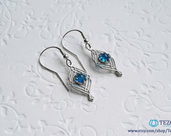 dainty sterling silver blue earrings for women
