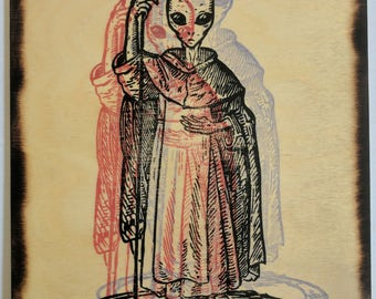 The Traveller - Grey Alien UFO Ceremonial Magick Image on Wood