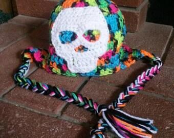 Vibrant Skull Crochet Hat, Ear Flap Hat Toddler Size, Vibrant Rainbow Crochet Skull Hat, Toddler Skull Crochet Hat, Hats for Kids, Skull Hat