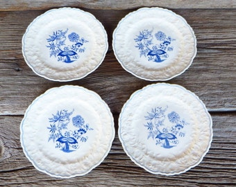 Blue and White Transferware Plates Pope Gosser Rose Point Blue Danube Pattern Cottage Chic Farmhouse Kitchen & Blue rose plates | Etsy