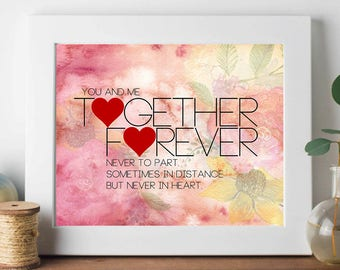 printable,download,together forever,love,marriage,commitment,gift,lettering,typography,wall art,home decor,wall decor,quote