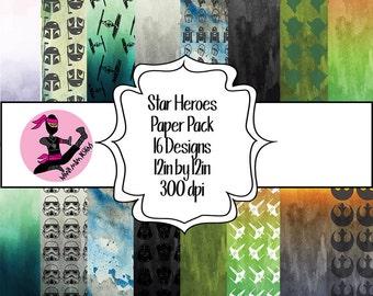 Star Heroes Water Color Digital Paper Pack- 16 Designs- Instant Download