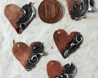 Little copper stamped solder hearts