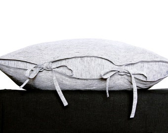 Black and white striped linen pillow cover - grey linen pillow covers - Scandinavian bedding   0036