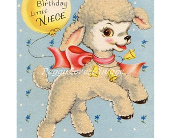 Animals 8 a Sweet Lamb with a Balloon and the Sentiment a Digital Image from Vintage Greeting Cards - Instant Download