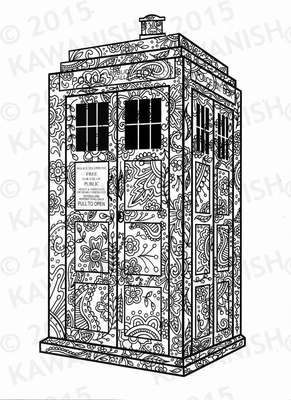 TARDIS Dr. Who adult coloring page