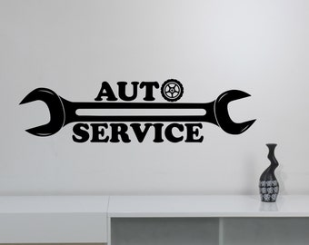 Auto Service Logo Wall Sticker Custom Vinyl Decal Repair Car Station Sign Garage Decorations Window Removable Art Decor aus4