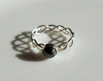 Delicate braided filigree sterling silver ring with rose cut pyrite, size 7.