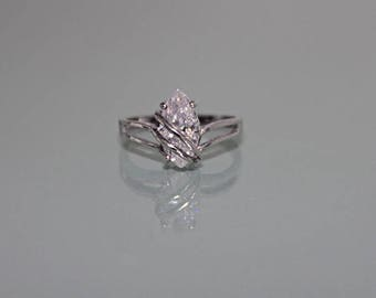 Vintage Sterling Silver Clear Quartz Ring, Silver White Quartz Ring