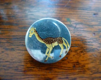 Champleve enamel Giraffe on silver button.
