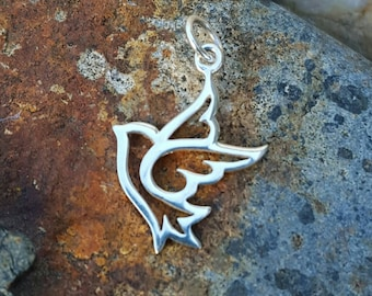 Peace Dove Charm Sterling Silver - Silver Bird Necklace - World Peace