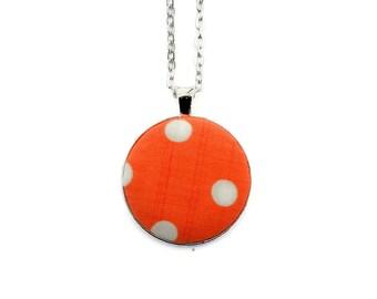 Vintage Polka Dot Fabric Pendant Necklace