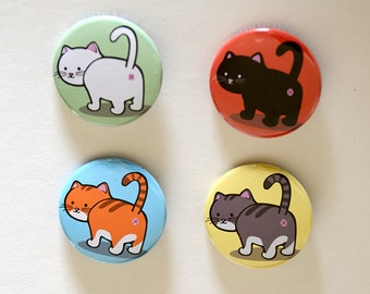 Cat Butt Buttons / Magnet of black cat, white cat, orange cat, grey cat - kawaii cat gift for kitty lovers - funny cat button with cute cats