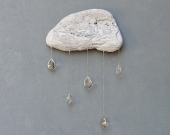 Driftwood Cloud with Vintage Crystal Raindrops - Wall Hanging - Large