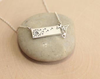 Sterling Silver Hummingbird and Dandelion Wishes Bar Necklace