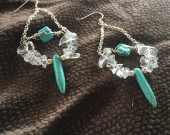 Quartz & Turquoise Earrings//Sterling Silver