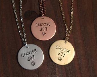 Choose Joy Necklace, Choose Joy Jewelry, Inspiration Jewelry, Motivational Jewelry, Hand Stamped Jewelry, Gifts For Her, Hand Stamped Joy
