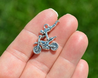 BULK 20 Silver Motorcycle with Rider Charms SC3578