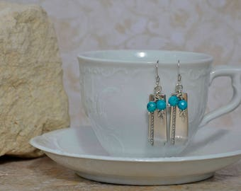 Spoon Earrings with Faceted Turquoise Beads...Grenoble 1938 by Oneida.....577T