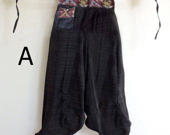 Rough cotton harem pants in a natural. Black