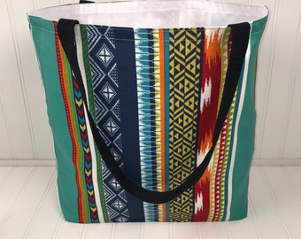 Colorful Tribal Print Tote | Handmade Everyday Tote | Market Bag