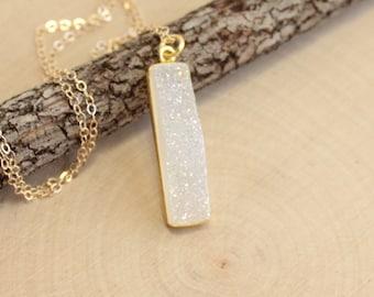 Gold Druzy Vertical Bar Necklace