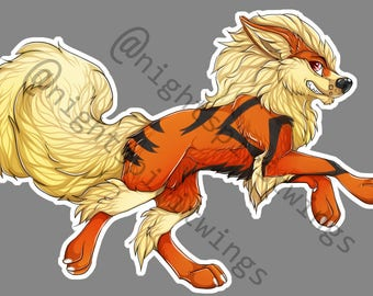 Arcanine Pokemon Furry Vinyl Sticker