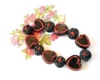 Lampwork glass beads Black red heart bracelet strand SB2