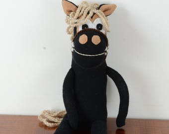 Black horse, sock horse, sock toy, toy animal, horse