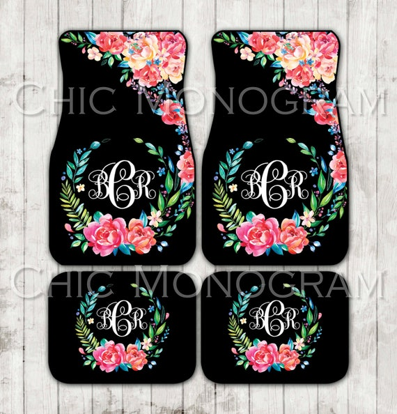 Floral Monogrammed Car Mats Classy Black Monogram Carmats Car Floor Mats Custom Car Accessories For Her Car Decor Cute Car Accessories