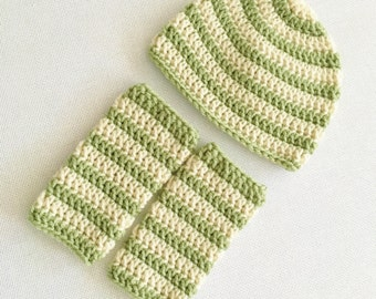 RTS 3 to 6 Months Baby Striped Beanie Hat & Leg Warmers - Pale Green, Cream