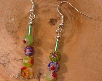 Millefiori bead earrings