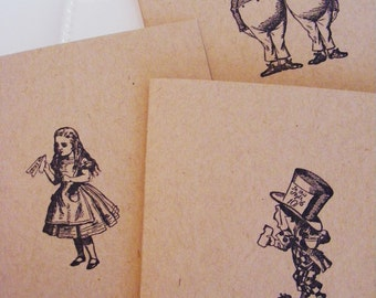 All Occasion Handmade Alice in Wonderland Kraft Greeting Cards Stamped w Envelopes Great Gift Quick Shipping