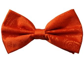Men's Paisley Orange Pre-Tied Bowtie, for Formal Occasions