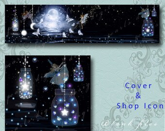 Midnight Fairy Moon, Cover banner and shop icon, Instant download, blank, night time glowing fairy dust and fireflies, butterfly, lake
