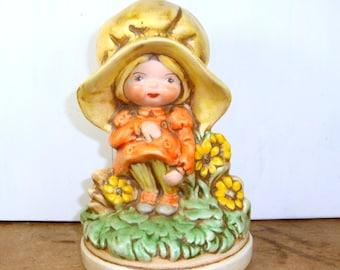 Little Girl Figurine, Big Yellow Bonnet, Girls Room, Retro Decor, 1970's  (214-14)