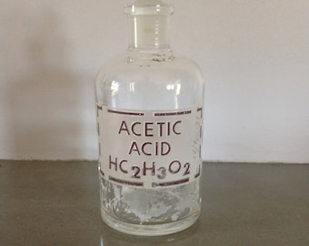 vintage acetic acid glass bottle with stopper 1960s chemistry laboratory industrial home decor