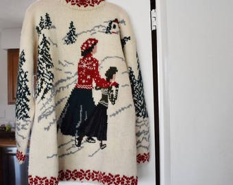 Vintage knit sweater ice skating snow winter Christmas ugly large