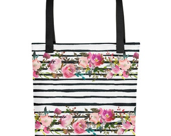 Watercolor stripes and roses Tote bag carryall
