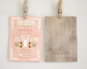 Oh Deer Woodland Birthday Party Invitation