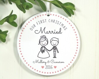 First Christmas Married Christmas Ornament Personalized Christmas Ornament Personalized Wedding Gift Our First Christmas Married IBO2FS