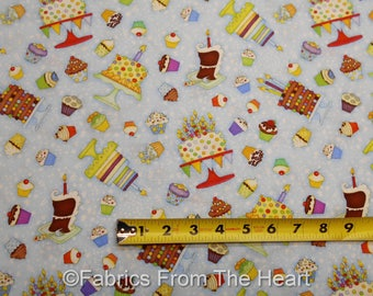 Let's Celebrate Party Cakes Cupcakes on Blue BY YARDS Henry Glass Cotton Fabric